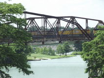 Old bridges in Texas. Old bridge over looking the guadalupe river in lake Mcqueeney texas Stock Photography