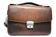 Old brief case on isolated background Stock Photography