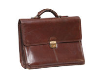 Old Briefcase. Old brown leather briefcase isolated on white background with clipping path royalty free stock images