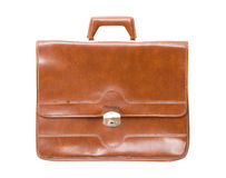Old briefcase. Isolated on white royalty free stock photography