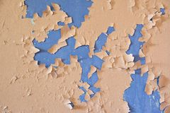 Old bright painted cracked wall.Grunge texture. Grunge background. Old wall. Abandoned Royalty Free Stock Images