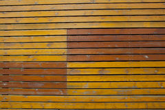 Old bright yellow wooden plank wall background Royalty Free Stock Images