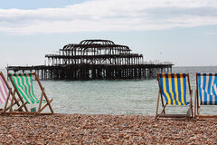 Old Brighton Pier. View from Brighton Beach of the Old Pier that was destroyed by fire Royalty Free Stock Photo
