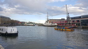 Old Bristol Docks and Cranes stock image