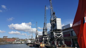 Old Bristol Docks and Cranes stock photos