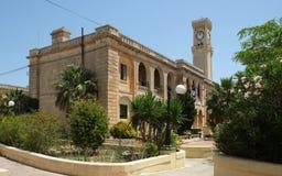 Old British Army Barracks and Clock tower at Mtarfa, Malta Stock Image