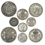 Old British Coins. Isolated over a white background stock photo