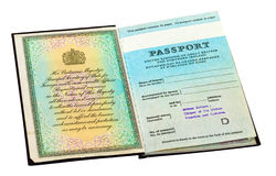 Old British passport over white Royalty Free Stock Photos