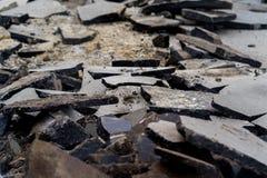Old broken asphalt. Royalty Free Stock Image
