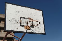 Old broken basketball hoop against the sky Royalty Free Stock Image