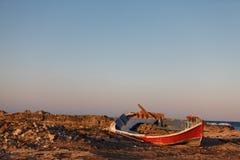 Old broken boat. Santorini island, Greece Royalty Free Stock Image