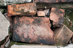 Old broken brick. Red old brick selective focus Stock Photos
