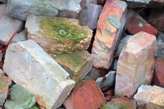Old broken bricks covered with moss background Royalty Free Stock Photography