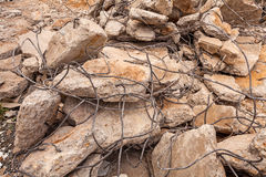 Old broken bricks and iron wire for construction Royalty Free Stock Images