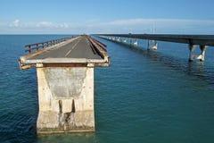 Old broken bridge and the new bridge of intracoastal highway US 1, Florida Keys, Florida, USA stock photo