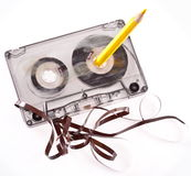 Old broken cassette. Stock Photo