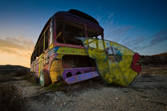 Old broken circus bus on the road-side. Stock Photos