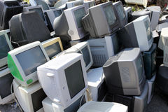 Old broken computers monitors. Piles of computer monitors for recycling Royalty Free Stock Photography