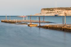 Old broken concrete bridge in Malta royalty free stock photo
