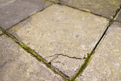 Old and broken cracked concrete floor tiles Royalty Free Stock Images