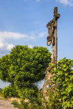 Old Broken Cross at the Road, Alsace, France Stock Photography