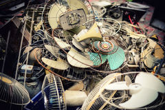 Old broken and damaged fans royalty free stock images