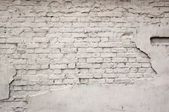 Old Broken Damaged Plastered Painted White Brick Wall Background Stock Photo