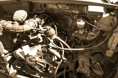 Old broken and dirty car engine close up royalty free stock images