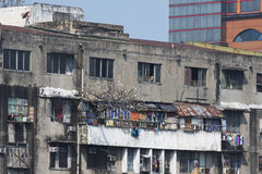Old broken down building in Manila in the Philippines Royalty Free Stock Photos