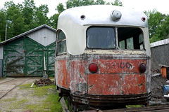 Old Broken Down Trolley. An old vintage trolley sits waiting to be restored at the Connecticut Trolley Museum royalty free stock image