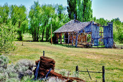 Old Broken Down Wooden Building. Abandoned broken down wooden farm building located inbetween Davis Creek and New Pine Creek, California, United States Royalty Free Stock Photography