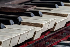Old, broken and dusty organ keys Royalty Free Stock Images