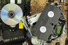 Old broken DVD  and VHS player Stock Photo