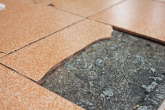 Old Broken Floor Tiles Royalty Free Stock Photos