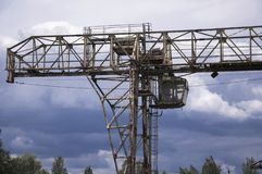 Old, broken gantry crane stock photo