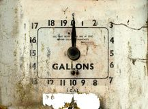 Old broken gas or petrol station dial. Dirty old broken gas or petrol station dial with cracked sides stock photography