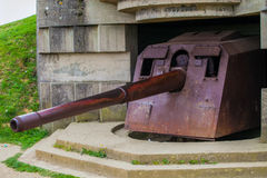 Old broken German bunkers of Atlantic Wall and artillery battery Stock Image
