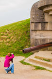 Old broken German bunkers of Atlantic Wall and artillery battery Stock Photography