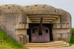 Old broken German bunkers of Atlantic Wall and artillery battery Royalty Free Stock Image