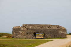 Old broken German bunkers of Atlantic Wall on Pointe-Du-Hoc. Wes stock images