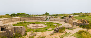 Old broken German bunkers of Atlantic Wall on Pointe-Du-Hoc. Wes Royalty Free Stock Photo
