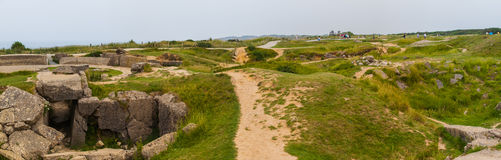 Old broken German bunkers of Atlantic Wall on Pointe-Du-Hoc. Wes Stock Images