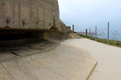 Old broken German bunkers of Atlantic Wall on Pointe-Du-Hoc. Wes royalty free stock photography