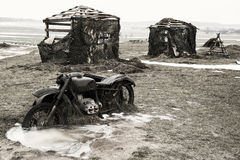 Old broken german motorcycle. Stock Photos