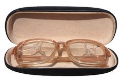 Old broken glasses in a case. Royalty Free Stock Images