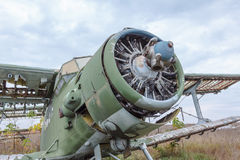 Old broken green russian airplane Stock Photo