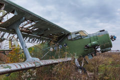 Old broken green russian airplane Stock Images
