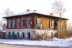Old  broken  house. The broken Old merchant house in Russia Stock Photos