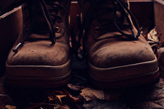 Old broken leather shoes Royalty Free Stock Image