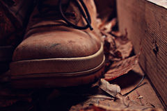 Old broken leather shoes Stock Images
